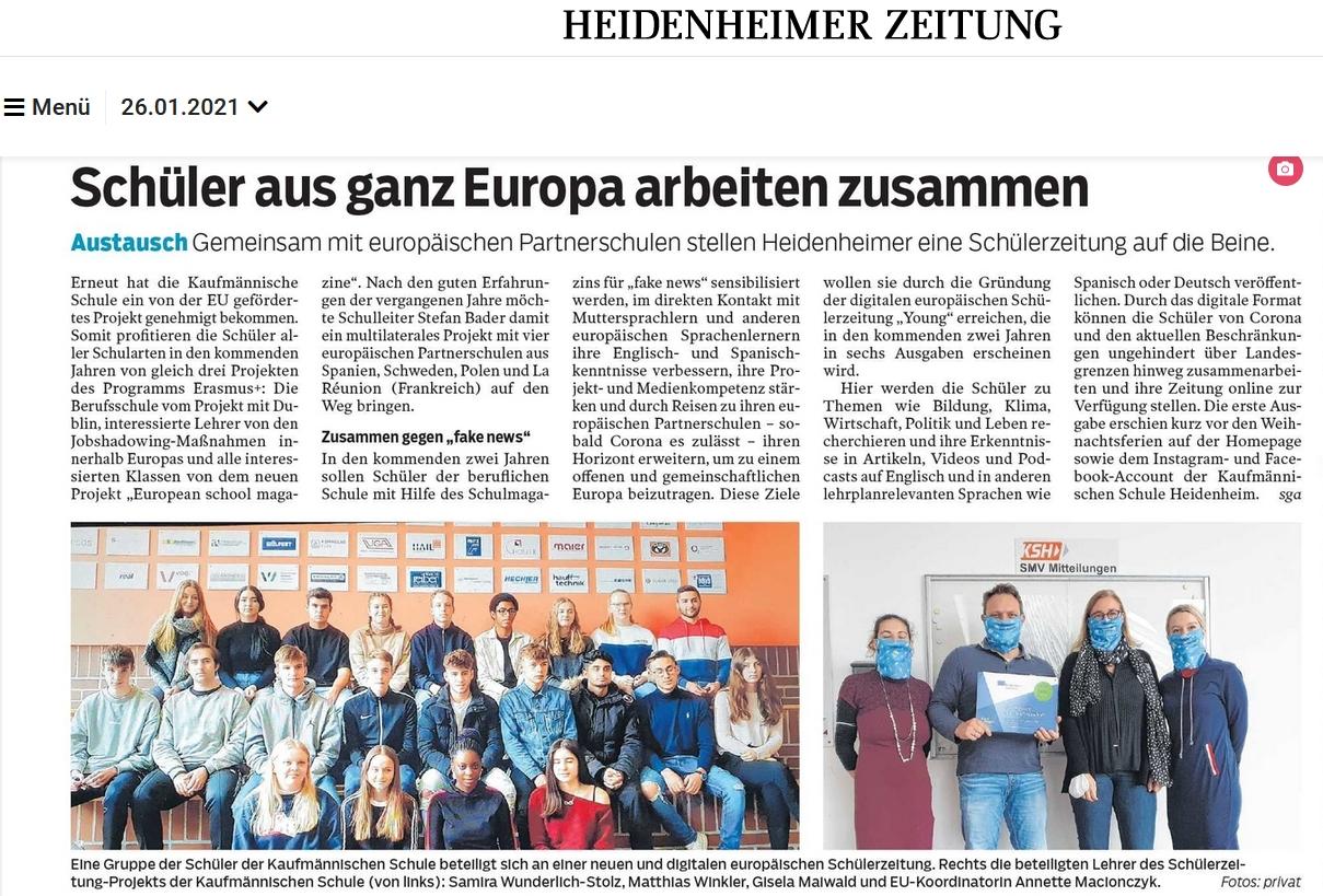 HZ 26.01.2021 Bericht über unser Erasmus Schülerprojekt